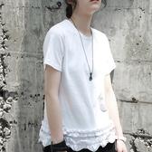 短袖T恤-中長款時尚新款木耳邊下擺女上衣2色73sl9【巴黎精品】