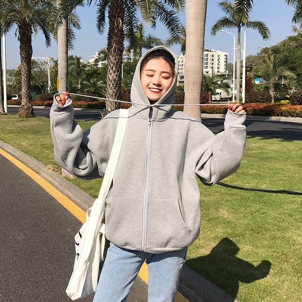 限定款連帽外套內刷毛加厚套頭衛衣開衫女冬季正韓學生寬鬆帽衫外套潮