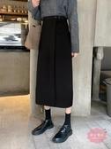 及膝裙 秋冬天配毛衣新品正韓顯瘦半身裙女中長款黑色高腰A字裙子潮【降價兩天】