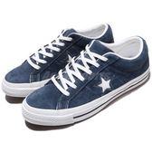 Converse One Star 藍 深藍 白 星星 三星標 麂皮 滑板鞋 休閒鞋 低筒 男鞋 【PUMP306】 158371C