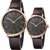 Calvin Klein CK Even 木質情侶手錶 對錶-銀x玫瑰金框/42mm+36mm K7B216G3+K7B236G3