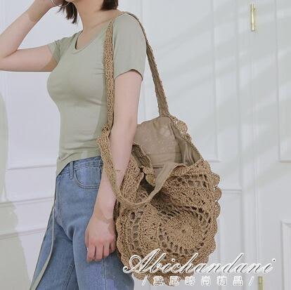 韓版草編包可摺疊編織包草包沙灘包側背包海邊  黛尼時尚精品