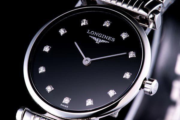 LONGINES 嘉嵐系列 女用超薄腕錶L42094586 鋼帶鑽面
