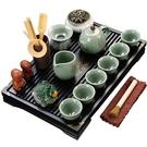 茶盤 瀾揚 陶瓷功夫茶具套裝家用客廳整套茶臺茶杯辦公抽屜式小木茶盤D 夢藝