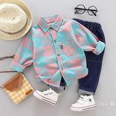 男寶寶秋裝套裝0一1-2-3歲韓版潮兩四歲秋季衣服襯衫牛仔褲兩件套