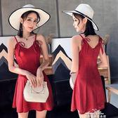 時尚韓版露背吊帶抹胸洋裝顯瘦氣質禮服夜場性感修身女裝夏『夢娜麗莎精品館』