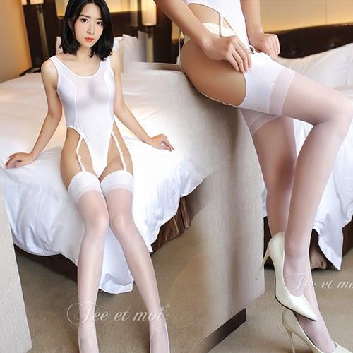 【性感睡衣內衣褲絲襪】透明長筒襪性感制服誘惑吊帶絲襪-白.馬甲 蕾絲 吊帶