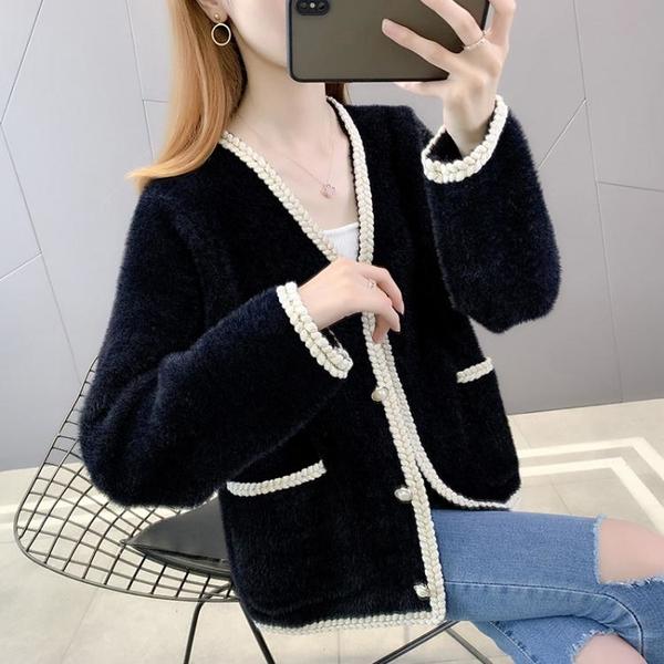 外套 长袖 百搭外套短水貂絨開衫毛身女寬松洋氣小香風女士針織外套NE68-A1 胖妞衣櫥