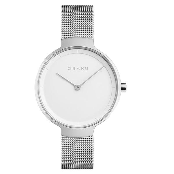 OBAKU 簡約百搭時尚腕錶-銀