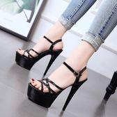 高跟涼鞋15厘米女涼鞋防水臺性感夜店鞋模特走秀鞋 JA2354『美鞋公社』