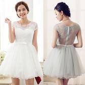 6703-S後背鏤空性感蕾絲公主短袖蓬蓬裙短版小禮服~美之札