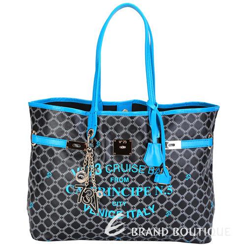 V73 Cruise 菱格圖騰轉印設計購物包(水藍色) 1440090-27