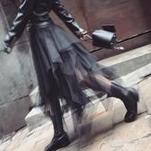 網紗裙-高腰不規則A字紗裙半身裙女春秋新款網紗中長款半裙 花間公主
