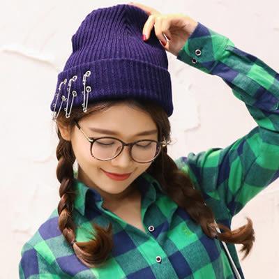 毛帽 韓版別針加厚針織毛線帽 (5色)【Ann梨花安】