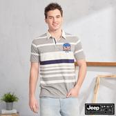 【JEEP】撞色條紋拼接短袖POLO衫(灰)