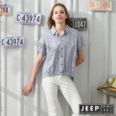 【JEEP】女裝 復古滿版藤蔓花紋連袖短襯衫