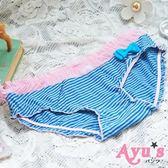 晴天娃娃三角彈性綿質x 紗褲頭可愛內褲灰藍條紋Ayu 39 s