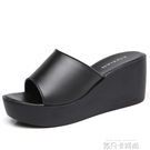 真皮涼拖女夏外穿2020新款韓版時尚厚底高跟鬆糕拖鞋女坡跟女鞋子「時尚彩紅屋」