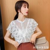 雪紡襯衫女2020夏新款寬鬆百搭甜美超仙蕾絲花邊拼接無袖洋氣上衣 LR20606『3C環球數位館』