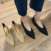 單鞋女2021春季新款淺口尖頭粗跟豆豆鞋復古韓版高跟氣質中跟女鞋 米娜小鋪