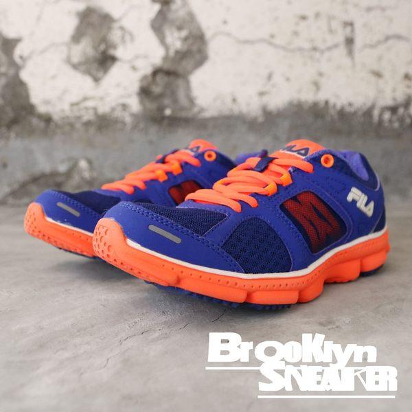 FILA 寶藍 螢光橘 透氣 休閒鞋 慢跑鞋 健走鞋 女 (布魯克林) 5J303P929