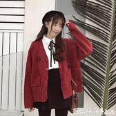 開衫女 秋裝日系刺繡V領寬鬆針織開衫 bf原宿風學生外套小清新軟妹毛衣女 芭蕾朵朵