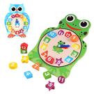 兒童啟蒙早教玩具 木製卡通青蛙數字時鐘學習板