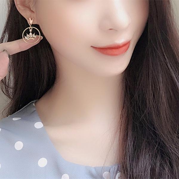 現貨不用等 韓國女神魅力氣質幾何皇冠寶石垂墜925銀針耳環 S93493 批發價 Danica 韓系飾品