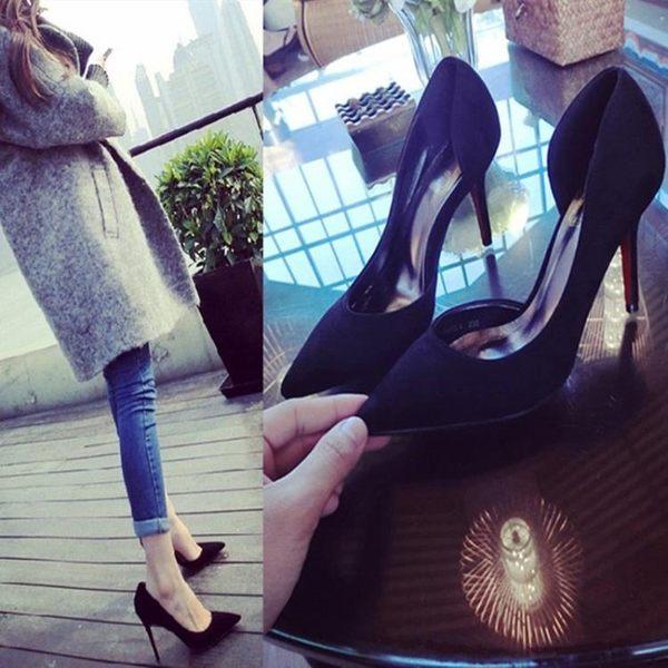 性感小清新少女細跟高跟鞋尖頭黑色正韓百搭單鞋 k-shoes