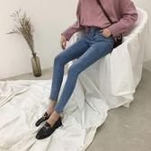 2018chic褲子學生女牛仔褲淺色九分褲緊身小腳淺色高腰牛仔褲女 熊貓本