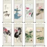 荷花蜻蜓絲綢國畫卷軸掛畫家居裝飾古色古香送禮送老外客戶禮品畫 【原本良品】
