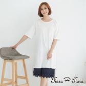 【Tiara Tiara】蕾絲口袋後下擺網花拼接短袖洋裝(白/藍)