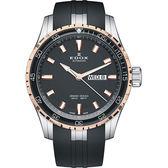EDOX 依度 Gand Ocean 極速帆船自動星期日曆錶-黑x玫瑰金/45mm E88002.357RCA.NIR