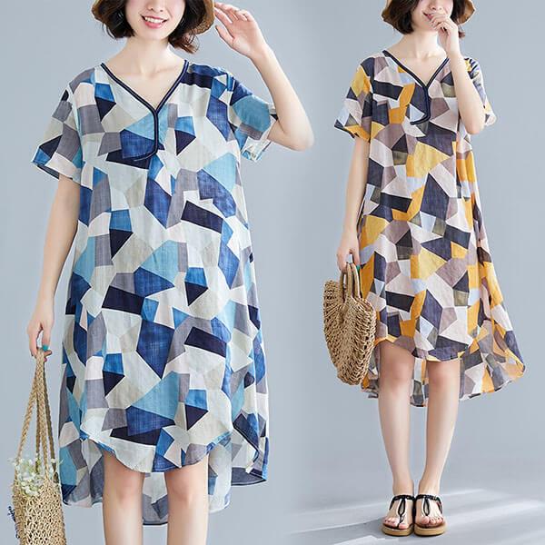 文藝幾何印花不規則下襬洋裝-中大尺碼 獨具衣格