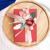 伴娘個性仿真花紅色喜糖盒大容量可裝煙喜慶結婚糖果盒滿月伴手禮