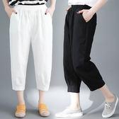 胯寬大腿粗的女生褲子顯瘦胖mm夏季大碼文藝棉麻哈倫褲休閒七分褲