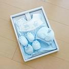 GMP BABY台灣製條紋熊兔兩用兔裝 藍 彌月禮盒1組