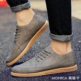 韓版低筒休閒男鞋子潮流透氣板鞋小皮鞋男生正裝潮鞋 莫妮卡小屋