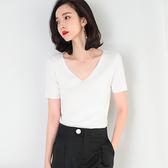 短袖針織衫-純色V領百搭經典女T恤2色73xi4【巴黎精品】