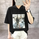 連帽短袖T恤 超火cec連帽t恤女短袖夏裝新款韓版學生寬鬆半袖薄款衛衣潮 寶貝計書