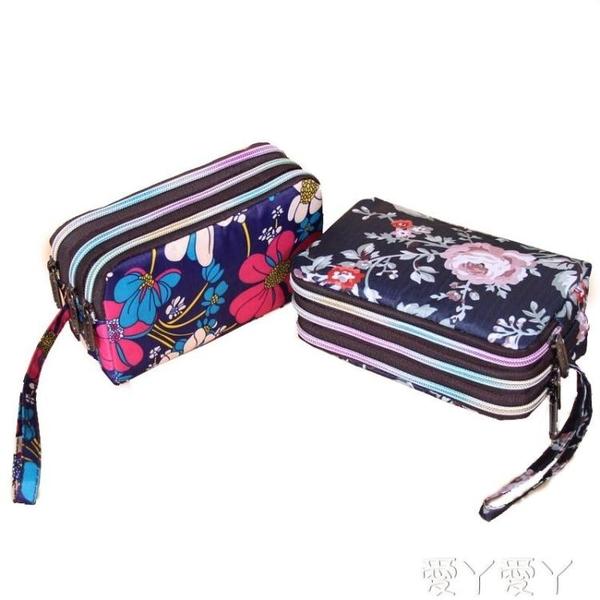 手拿包零錢包女長款帆布手拿包簡約三層拉錬手包女士小包大容量手機包袋 愛丫愛丫