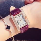 方形手錶名牌長方形手錶女士真皮帶時尚款石英防水休閒簡約大氣質機械 玩趣3C