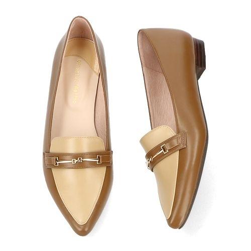 【ORiental TRaffic】金屬釦飾尖楦樂福鞋-焦糖咖