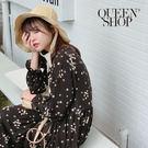 Queen Shop【01084451】中山領綁帶小花雪紡洋裝 兩色售*現+預*