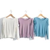 秋冬新品[H2O]泡袖蕾絲拼接花朵裝飾線衫 - 白/淺藍/淺紫色 #0630020