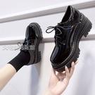 牛津鞋女英倫風黑色小皮鞋女學生厚底秋冬單鞋高跟韓版jk學院風潮2月28日發完 快速出貨