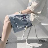 工裝牛仔短褲女夏季薄款褲子高腰顯瘦中褲寬鬆直筒港味闊腿五分褲【聚物優品】