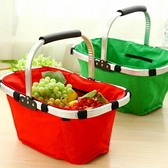 可摺疊菜籃子購物籃野餐手提籃便攜購物籃環保野餐籃帆布 【快速出貨】