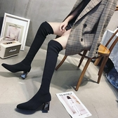2019新款瘦瘦靴襪子靴透氣女靴彈力靴過膝長靴高筒靴子長筒靴襪靴  極有家