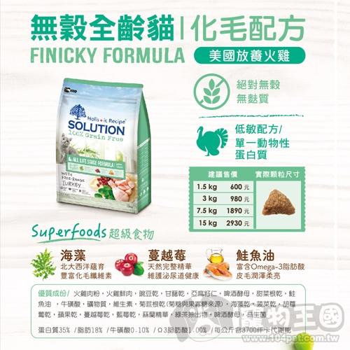 【寵物王國】耐吉斯超級無穀-全齡貓化毛火雞肉配方7.5kg